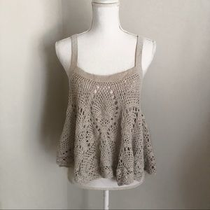 Free People Tops Flowy Crochet Tank Top Poshmark